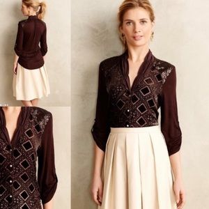 Anthropologie Tiny brown blouse